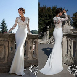 Wholesale Long Slim Lace Wedding Dresses - 2018 New Modest Long Sleeves Sheath Wedding Dresses V Neck Lace Appliques Slim Illusion Spring Summer Bridal Gowns Vestidos De Noiva