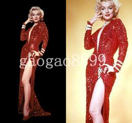 Robes de soirée célèbres en Ligne-Incroyable Sexy Célèbre Rouge Sequin Marilyn Monroe Robe Mode Chaud Col En V Toute La Longueur Sirène Manches Longues Robes De Soirée Robe De Bal Pas Cher