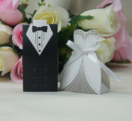 Wholesale Wedding Dress Candy Favor Box - New 200pcs Bridal Gift Cases Groom Tuxedo Dress Gown Ribbon Wedding Favor Candy Box