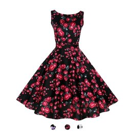 Wholesale Round Neck Belted Dress - S5Q Women Elegant Vintage Slim Round Neck Sleeveless Printed Belt Cocktail Dress AAAFPO