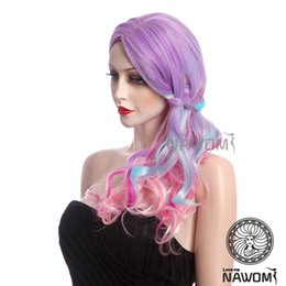 Wholesale Long Rainbow Wigs - Free Shipping New Fashion Female Rainbow Color Wigs Long Wavy bangs Wigs gatherings personalized color wig