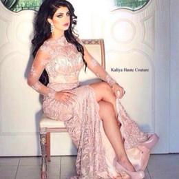 Wholesale Long Dresses Prom Dubai Sales - Hot Sale Lace Long Sleeves Arabic Evening Dresses 2015 Sexy Mermaid High Neck Long Sleeve Side Slit Dubai Arabic Prom Dresses