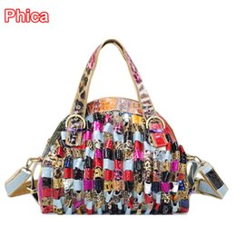 Wholesale Handbags Colorful Patchwork - Wholesale-2015 New Genuine Cow Leather Womens Fashion Shining Satchel Handbags Colorful Snake Print Patchwork Shoulder Bag Shell Tote