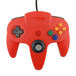 Wholesale Game Controller Joystick Pc - Wholesale-Hot USB Game Wired Controller Joypad Joystick Gaming For  N64 64 PC Red Free shipping
