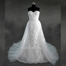 Wholesale Two Color Corset - Romantic Mermaid Lace Wedding Dress with Detachable Skirt Strapless Sweetheart Trumpet Corset Bridal Dresses Custom Made Two Pieces Gown