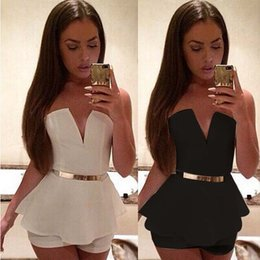 Wholesale Elegant Shorts Rompers - Women Deep deep V-Neck Strapless Elegant Black White Shorts Bodysuit Casual Rompers Womens lotus leaf Jumpsuit