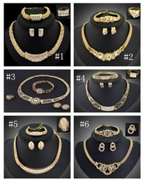 Wholesale Gold Plated Indian Earrings - Top Quality 18K Gold Plated Chunky Chain Statement Necklace Earrings Bracelet Ring Set For Women Crystal Wedding Jewelry Sets 6 Designs