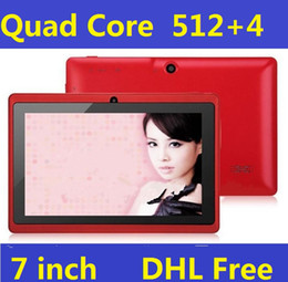 Wholesale Wholesale Wifi Tablets - A33 Q88 Quad core 7 Inch Allwinner Tablet PC Android 4.4 Dual Camera 4GB 512MB Capacitive screen WIFI MID DHL FREE