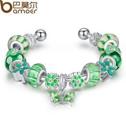 Wholesale Murano Bangle Bracelet - Wholesale-Bamoer High Quality Silver Bracelets & Bangle for Women With Green Murano Glass Beads Butterfly Charm DIY Jewelry Gift PA3048