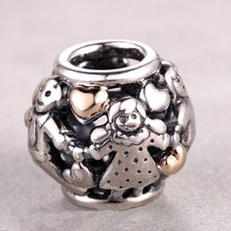 Wholesale Real Families - 925 Sterling Silver & 14K Real Gold Family Forever Charm Bead Fits European Pandora Jewelry Bracelets Necklaces & Pendants