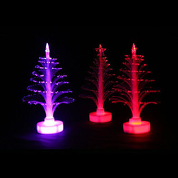 Wholesale Fiber Optic Christmas Tree Lights - Colorful LED Fiber Optic Christmas Tree Decoration Night Light Christmas Gift Party Ornaments Free Shipping ZA5498