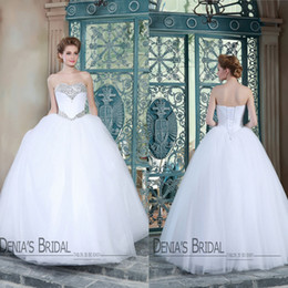 Wholesale Neckline Sleeveless Bridal Wedding Gowns - 2015 Ball Gown Wedding Dresses Denia's Bridal Sweetheart Neckline Crystal Beaded Sleeveless Lace up Back Model Pctures Bridal Gowns