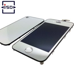 Wholesale Iphone 4s Digitizer Back Cover - Wholesale-Mirror Colorful Silver Color LCD Display&Touch Screen Digitizer & Home Button&Back Cover For iPhone 4 CDMA 4S Free