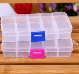 Wholesale Storage Containers Compartments - 300pcs lot Free Shipping Wholesale Clear Jewelry Beads Container Storage Plastic Box 10 Compartments