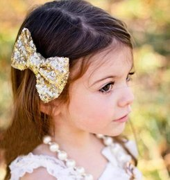 Wholesale Yellow Sequin Headbands - fashion Women big bow Baby barrettes new Europe and cute girls children sequins hairpin large bow hair jewelry