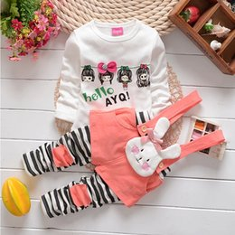 Wholesale Bunny Clothing - 2015 Spring New Arrivals Cute Girls bunny strap suit long sleeve t shirt+striped strap long pants 2 piece suits children's clothing C001