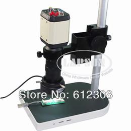 C montagem lentes on-line-Atacado-2.0MP 8X-100X HD Indústria Microscópio Câmera VGA USB AV Saída de Vídeo TV + C-Mount Lens + Stand Titular + 40 LED Anel Direito F PCB