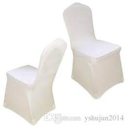 100 pezzi universale bianco poliestere spandex coperture della sedia da sposa per matrimoni banchetto hotel decorazione pieghevole arredamento vendita calda all'ingrosso da