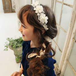 Wholesale Korean Tops For Girls - Lace Flowers Garlands Appliques Adjustable Flower Girl Head Piece Korean Top Quality Pearls Hair Accessories for Wedding Free Shipping