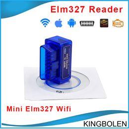 Wholesale Opel Color - Blue color Super mini elm327 Wifi Diagnostic Tool suer mini elm 327 wifi obd2 scanner V2.1 Works on elm327 Torque Free Shipping