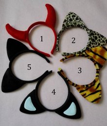 Wholesale Kids Hair Supplies - 5 Styles Children mickey Minnie leopard tiger mouse ears headband girl boy headband kids birthday party supplies decorations B001