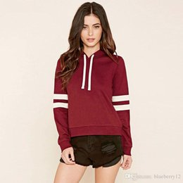 Wholesale Girl Two Color Hoodies - Hot Sale Fashion Pullover Spring Autumn Women Hooded Hoodies Long Sleeve Soild color Sweatshirt Sexy Girl Sportwear Hoodie two piece\lot