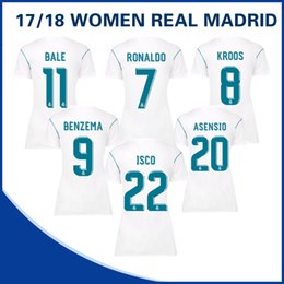 Wholesale Dress Shirt 22 - THE WOMEN Real Madrid Home White Jerseys 17 18 Real Madrid #7 RONALDO #20 ASENSIO #22 ISCO women's dress football jerseys shirt