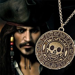Wholesale Skeleton Necklaces - Popular Aztec Coin Pirates of the Caribbean Aztec Gold Coin Necklace Men Skull Sweater Pendant Jewelry Necklaces & Pendants free shipping
