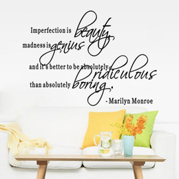 Wholesale Marilyn Monroe Quote Wall Stickers - Quote Room Decor Art Removable Decal Wall Sticker Marilyn Monroe Home Decor Creative Wall Decals Decorative Adesivo De Sticker
