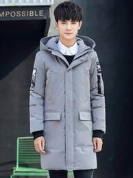 Wholesale Long Down Filled Jacket - Men Slim long section 2017 winter new Korean fashion cold warm thickened white duck down filled jacket tide