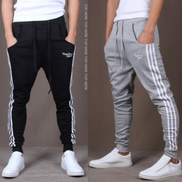 Wholesale Hiphop Jogging Pants - 1601 Casual pants sports men jogging gym mens clothing hiphop sweat pants classic harem letter long chinos mens tracksuit bottoms
