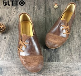 Wholesale Handmade Women Shoes - wholesale drop shipping silver vintage handmade women shoes genuine leather round toe old fashion distress loafers size35-40