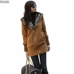 Wholesale Leopard Zip Up Coat - New Fashion 2015 Autumn Winter Women Ladies Leopard Hooded Fleece Jacket Zip Up o Neck Coat Outerwear M-4XL High Quality