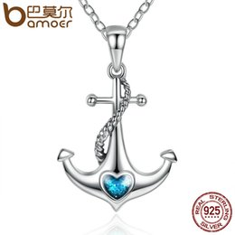 blue agate pendants Promo Codes - Bamoer Classic 925 Sterling Silver Blue Heart Crystal Anchor Pendant Necklaces Women Fashion Jewelry Engagement Scn051