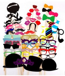Wholesale Moustache Lips - Wholesale-58 pcs Colorful Photo Booth Props Moustache Lips Hat On Party Birthday Wedding