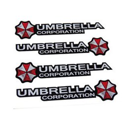 Wholesale Mercedes Benz Mirrors - 4pcs set Umbrella corporation Resident Evil Car Stickers Door Handle Decal for BMW Mercedes-Benz Volkswagen Honda Hyundai Kia Lada