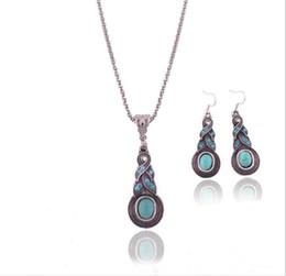 Wholesale Errings Silver - Wholesale-Bohemia Fashion blue Geometrical Mosaic crystal turquoise pendant necklace Errings jewelry set TN--1 Free shipping