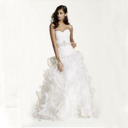 Wholesale Sash Waist Wedding Dress - Ruffled Skirt Organza Wedding Gown with Embellished Beading Waist SWG492 Beading Sash Wedding Dresses vestidos noiva