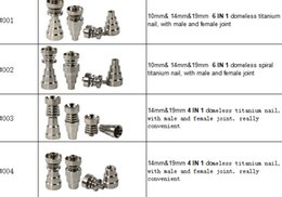 Wholesale Titanium Metal Wholesalers - Titanium Nail 4 in 1 and 6 in 1 Domeless Titanium Nails Titan Nail honey buckets with Male and Female Joint