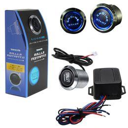 Wholesale push switch 12v - 12V Universal Car Engine Start Push Button Switch Ignition Starter Kit Blue LED