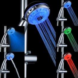 Wholesale Adjustable Shower Head Led Lights - Adjustable 3 Mode LED Light Shower Head Sprinkler Temperature Sensor Bathroom 7 Color Changing LED Shower Head Automatic Control Sprinkler