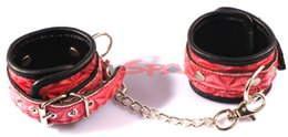 Wholesale Elegant Sex Toys - Wholesale-Free shipping PU leather hand cuffs sex toy for couples elegant red wristcuffs Sex Toys Adult sex Products sexy wristcuffs