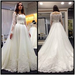 Wholesale Online Vintage Wedding Dresses - Vintage 2016 Lace Wedding Dresses A Line Charming Off Shoulder A Line With Sheer Long Sleeve Garden Online Bridal Gowns Custom Plus Size