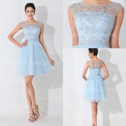 91f280b8f Distribuidores de descuento Vestido Azul Claro Corto De Tul ...