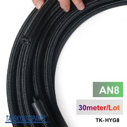 Wholesale braided fuel hose - Tansky - 2013 very high quality AN8 Cotton Over Braided Fuel   Oil Hose Pipe Tubing, Light Weight, 30 Meters Roll TK-HYG8