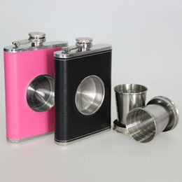 Wholesale Wrap Flask - Wholesale-The Original Shot Flask 8oz Hip Flask with Built-in Collapsible Shot Glass Stainless Steel with Premium Bonded Leather Wrapping