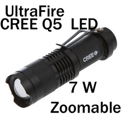 Wholesale Wholesale Hunting Flashlights - Ultrafire 7W 400lm CREE Q5 LED ZOOMABLE Mini Flashlight Torch Lamp AA 14500 Outdoor sports,