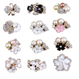 Wholesale Wholesale Girls Rhinestone Headbands - 12 Style Pearl Rhinestone Buttons Baby Headbands Accessories Girl Jewelry Accessories Children DIY Accessories for Headbands Hair Clips Hat
