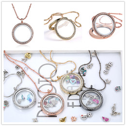 Wholesale Rose Gold Floating Locket Wholesale - Rose Gold Silver DIY Glass lockets Necklaces with crystal 30mm Circle magnetic floating charm locket pendants snake chains
