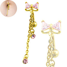 Wholesale Gold Plated Barbell - Body Belly Button Rings Gold Plated Stainless Steel Barbell Dangle Rhinestone Long Chain Navel Rings Piercing Jewelry